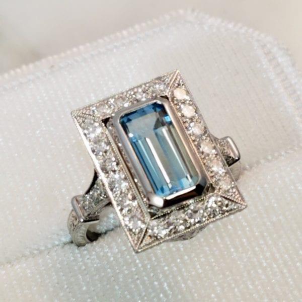 Aquamarine ring with diamonds