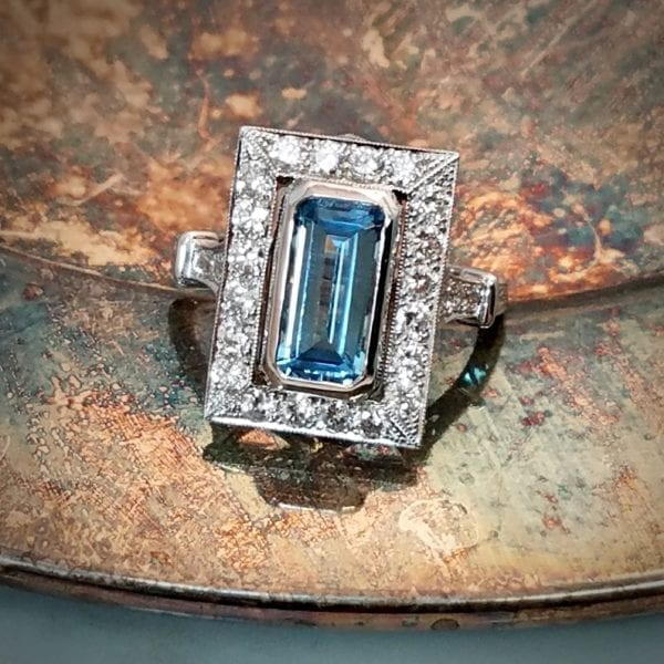 emerald cut aqua ring