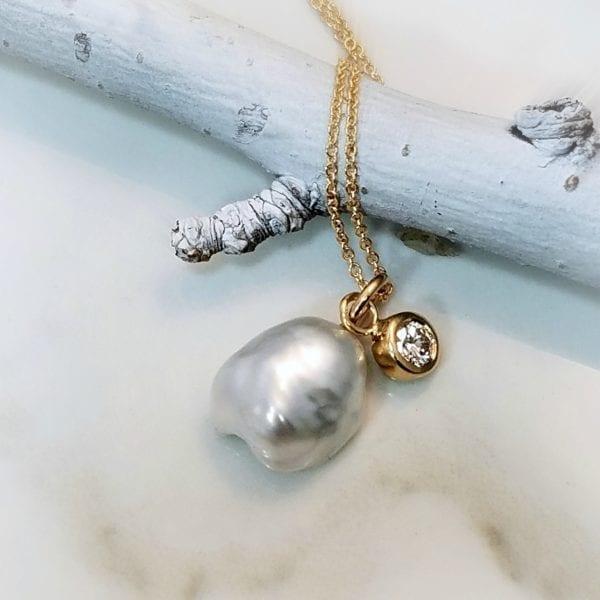 keshi pearl diamond necklace pendant