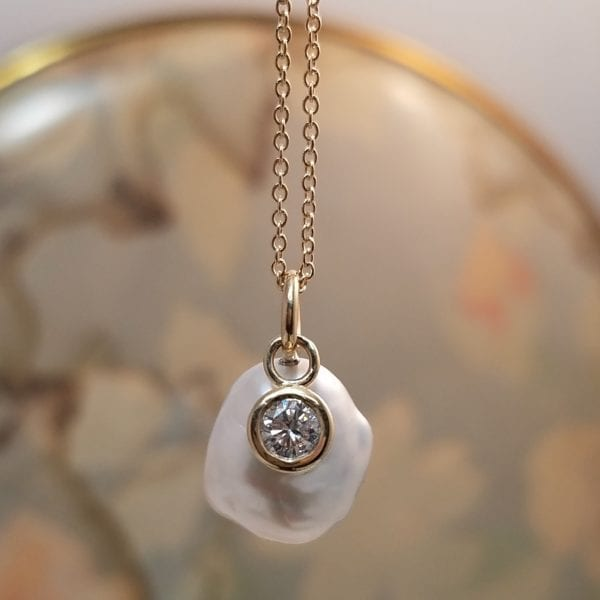 keshi pearl diamond pendant
