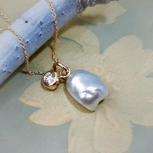 keshi pearl diamond necklace