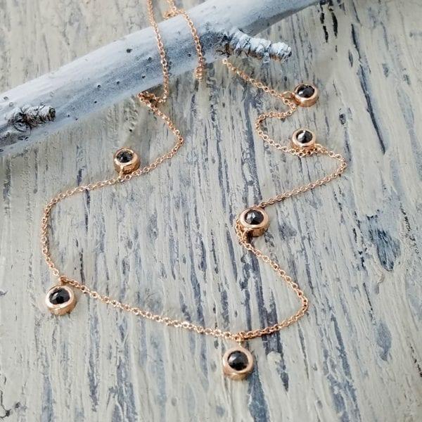 black rose cut diamond necklace