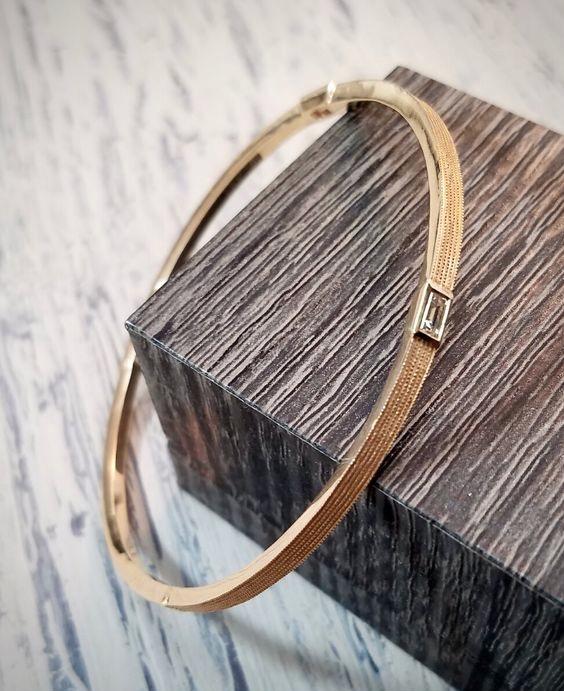 gold bracelet bangle with baguette diamonds