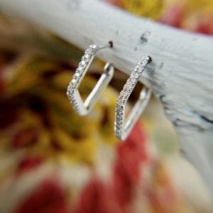 Geometric diamond hoop earrings