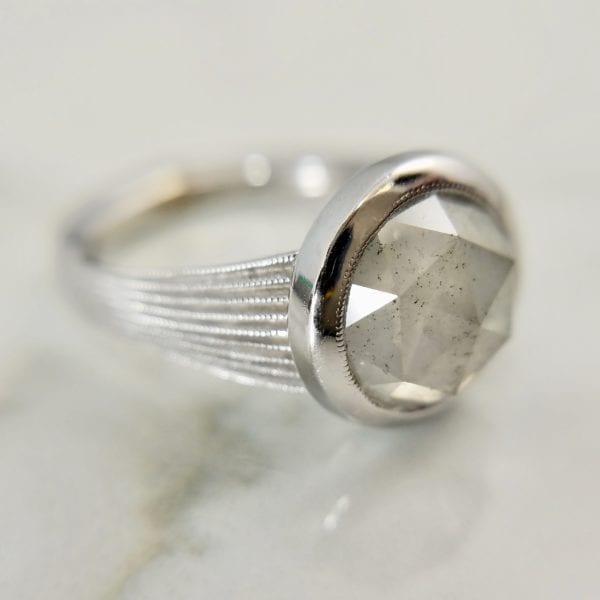 Rosecut Diamond Bezel Ring