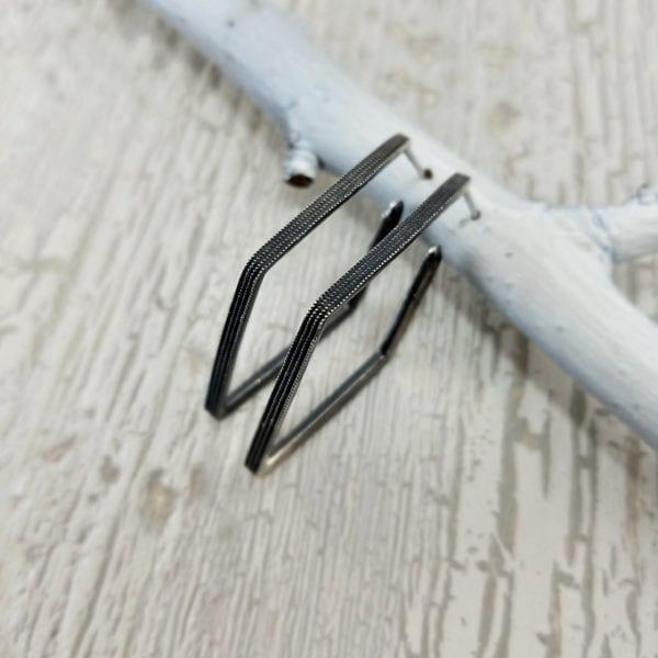 Geometric silver fashion earrings