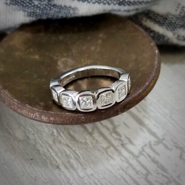 Princess cut diamond band