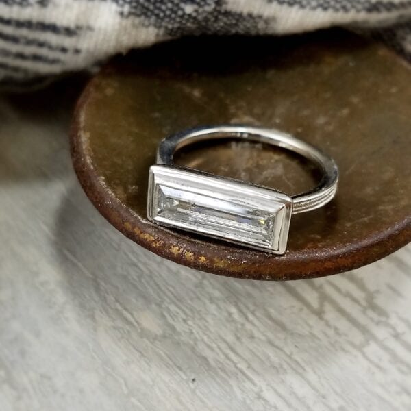 Large baguette diamond ring
