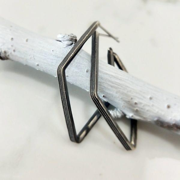 Geometric blackened silver fashion earrings