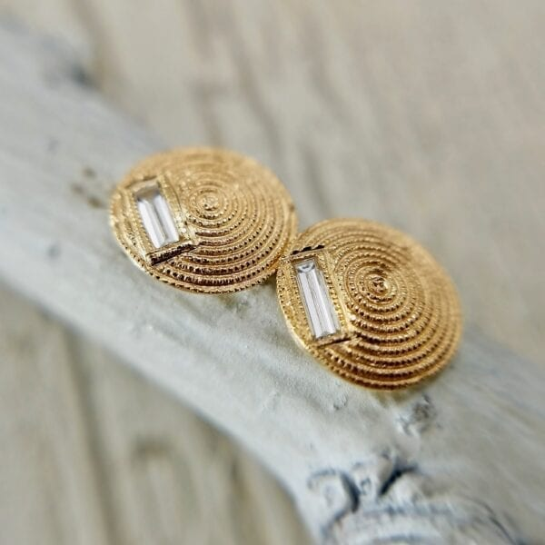 Domed Stud Earrings With Baguettes