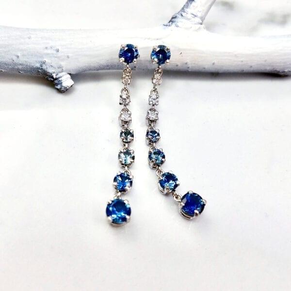 blue sapphire ombre earrings