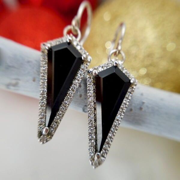 Kite Black Spinel Earrings