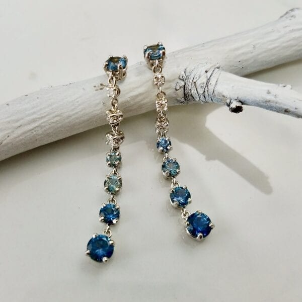 blue ombre drop earrings