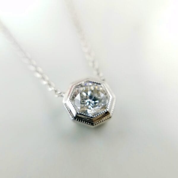 Hexagon diamond pendant necklace