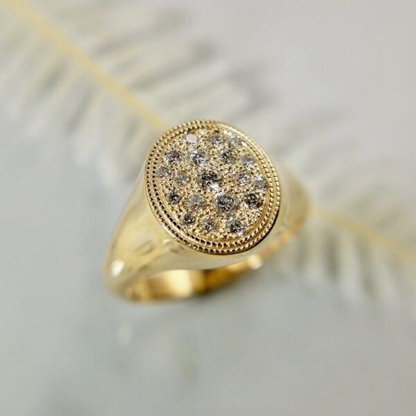 Gold diamond signet ring