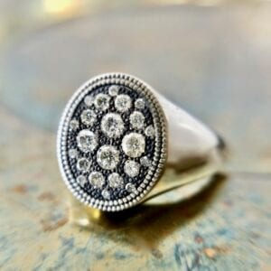 Silver diamond signet ring