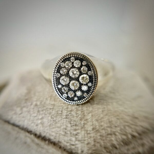 Silver diamond signet ring