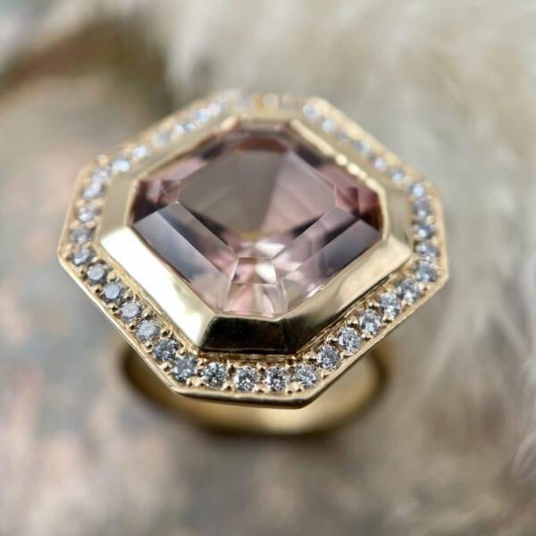 Asscher Pink Tourmaline Ring