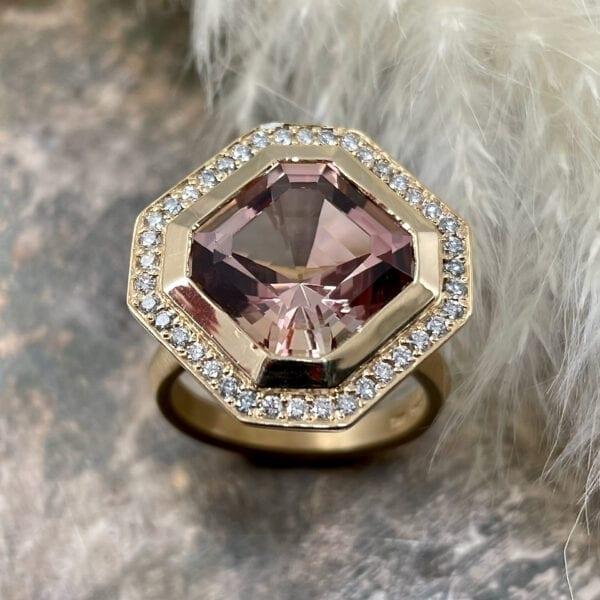 Asscher Pink Tourmaline Statement Ring