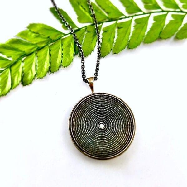 Silver disc necklace pendant