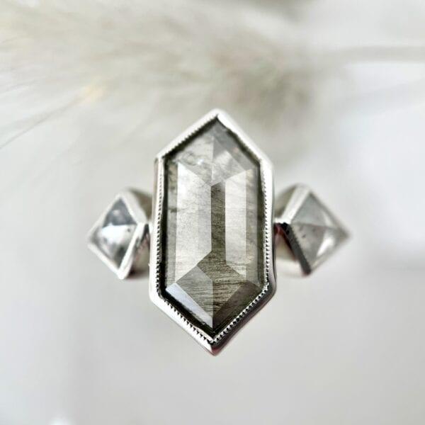 Gray rosecut diamond ring