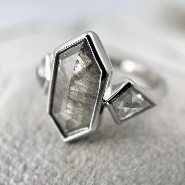 Gray hexagon diamond ring