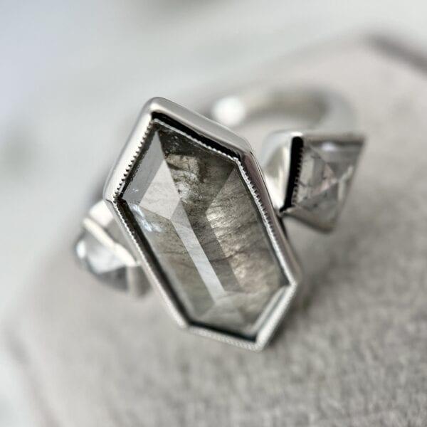 Rosecut diamond 3-stone ring