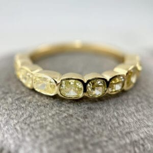 Fancy yellow diamond band