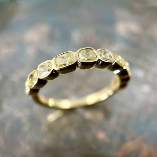 Yellow diamond bezel band