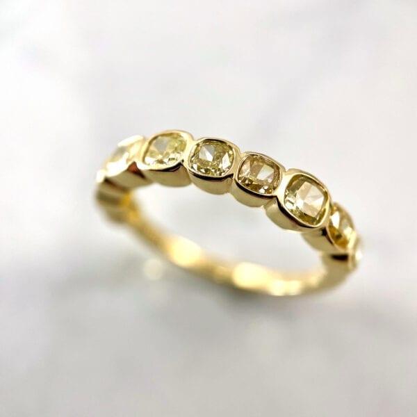 Fancy yellow diamond bezel band