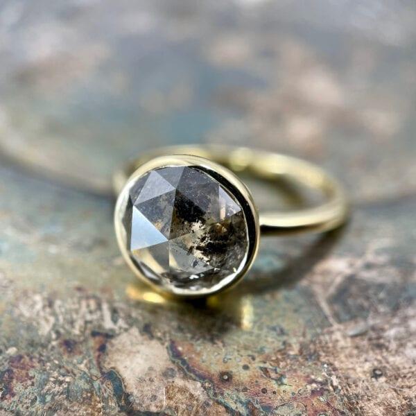 Rosecut diamond solitaire ring