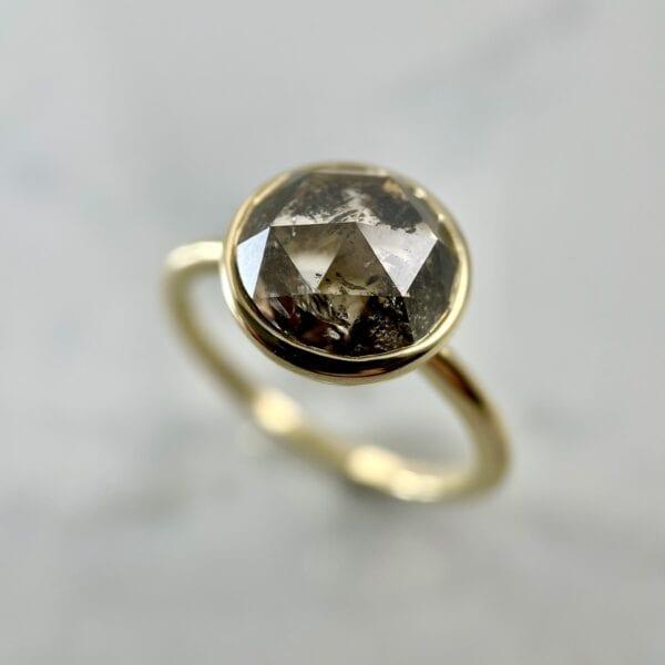 Rosecut brown diamond ring