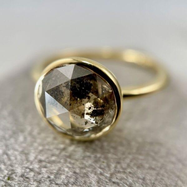 Rose cut diamond solitaire ring