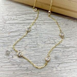 Oval diamonds by the yard necklace