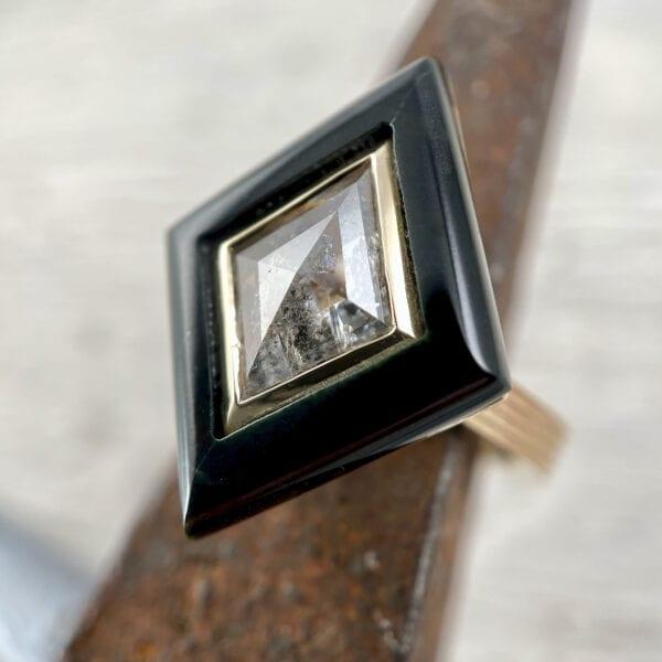Kite-shaped rose cut diamond ring