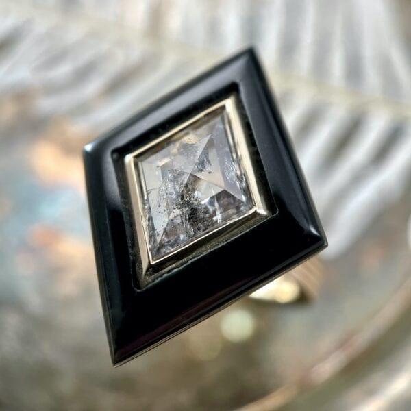 Black jade ring with rosecut diamond