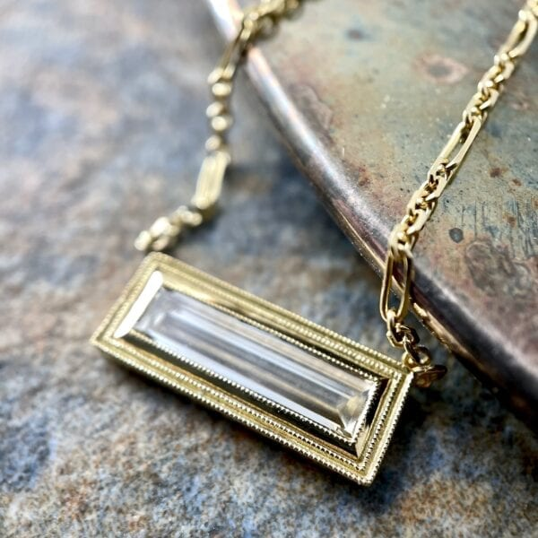 Baguette diamond pendant necklace