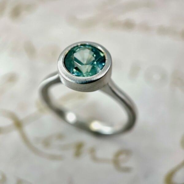 Montana sapphire bezel ring