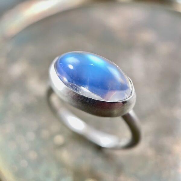 Oval moonstone bezel ring