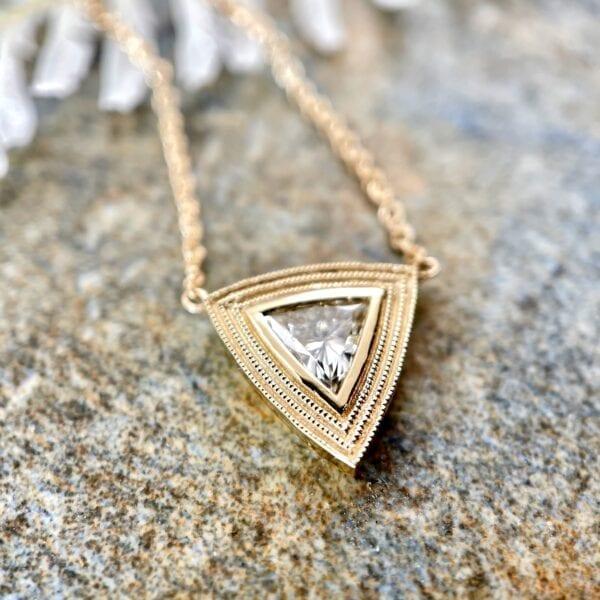Trillion diamond pendant necklace