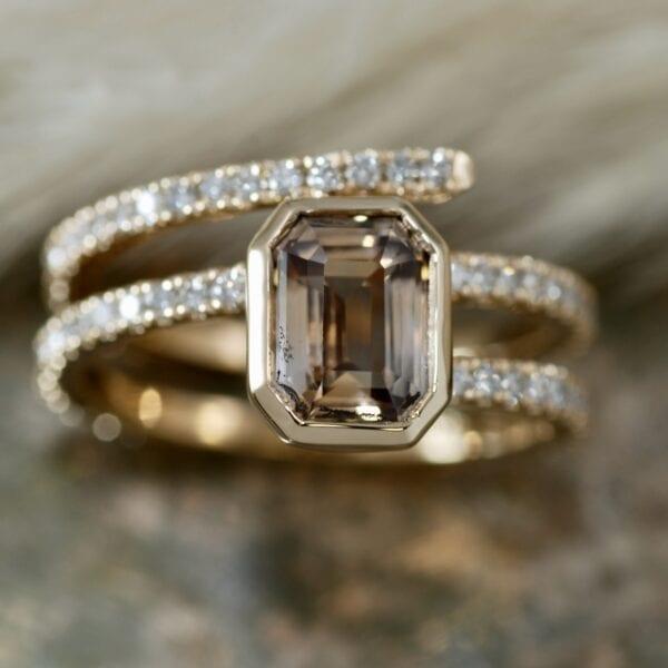 Peach sapphire wrap ring