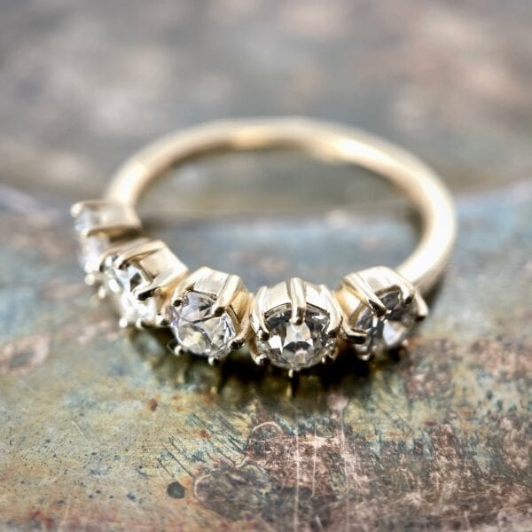 5-stone rose cut diamond band