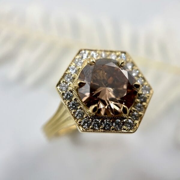 Brown diamond hexagon halo ring