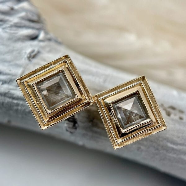 Square rose cut diamond earrings