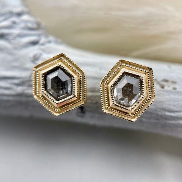 Hexagon rose cut diamond earrings