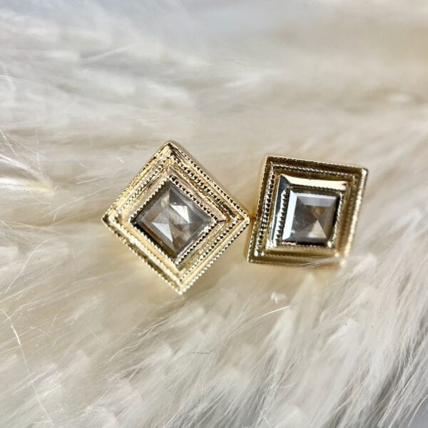 Rose cut diamond stud earrings