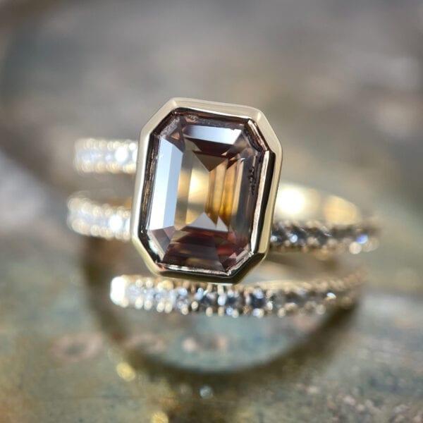 Sapphire wrap ring with diamonds