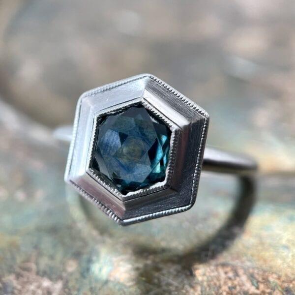 Hexagon sapphire ring