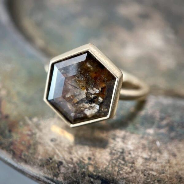 Hexagon rose cut diamond ring