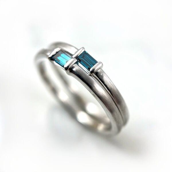 Blue baguette diamond ring